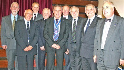 "All the President's men ... those members of the Year of '56 that attended the dinner were (l to r) Geoff Coley, Trevor Bradley, Richard Wood, Allan Elcock, Association President Keith Bowkett, Ray Evans, Andrew Ives, Ray Steadman, and Roger Thomas. Steve (""Sam"") Wood, another member of the Class of '56, was unable to attend the Dinner because of other commitment, but did arrive later, but sadly too late for this photograph."