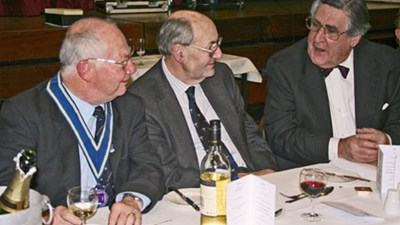 Incoming President Peter Vaughan with Principal Guest Dr Richard Taylor MP, Member of Parliament for the Wyre Forest District, and Graham Herbert, representing Old Wolvernians' Association