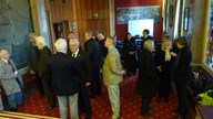 Attendees gathering in the King Charles 1 room