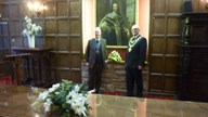 Our President and the Mayor of Kidderminster in front of the portrait of King Charles 1